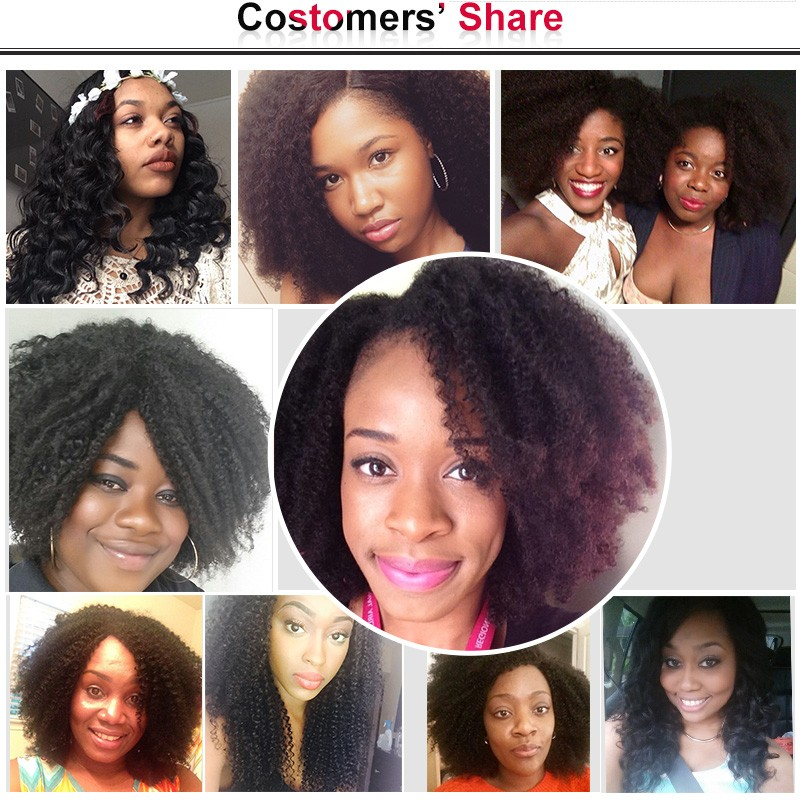 Mongolian  Kinky Curly Virgin Human Hair Clip In Human Hair Extensions Africian American Clip In Extensions 7pcs/set Clip Ins