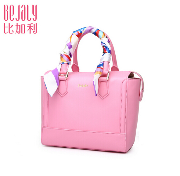 BEJALY famous brand genuine leather bag cowhide pink fashion portable messenger bags art scarves zipper shoulder bags(China (Mainland))