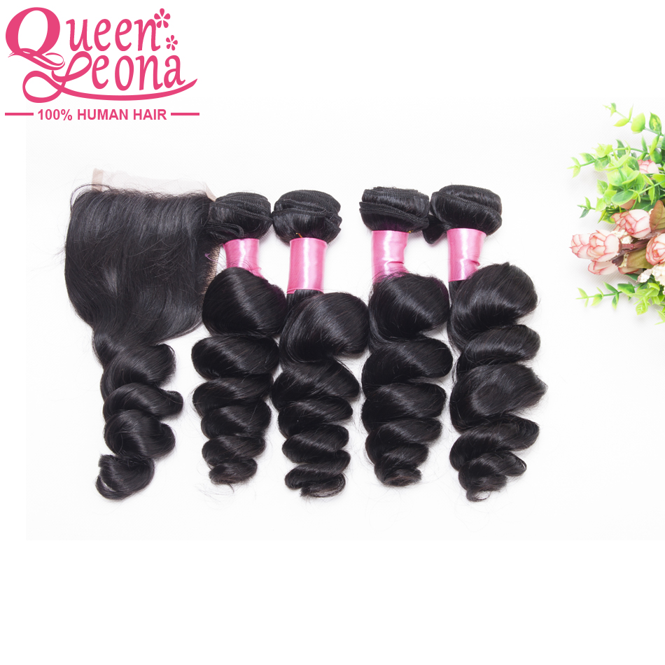 4 Bundles Malaysian Loose Wave With Closure Human Hair Extensions Closure Virgin Malaysian Loose Wave Bundles With Closure