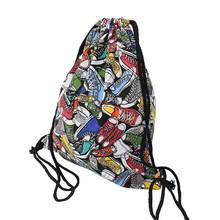 Unisex Backpacks Men Women Drawstring Backpack Bags Cool Shoes/Burger Printed Casual Softback Shopping Travel Drawstring Bag(China (Mainland))