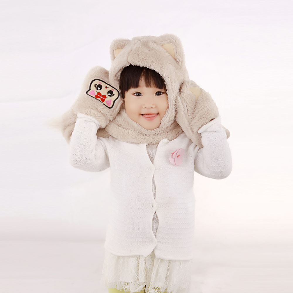 New Top Fashion Baby Toddler Girls Boys Siamesed Cartoon Scarf Gloves Knitted Winter Warm Cap Coral fleece Warm haps gorro vicky