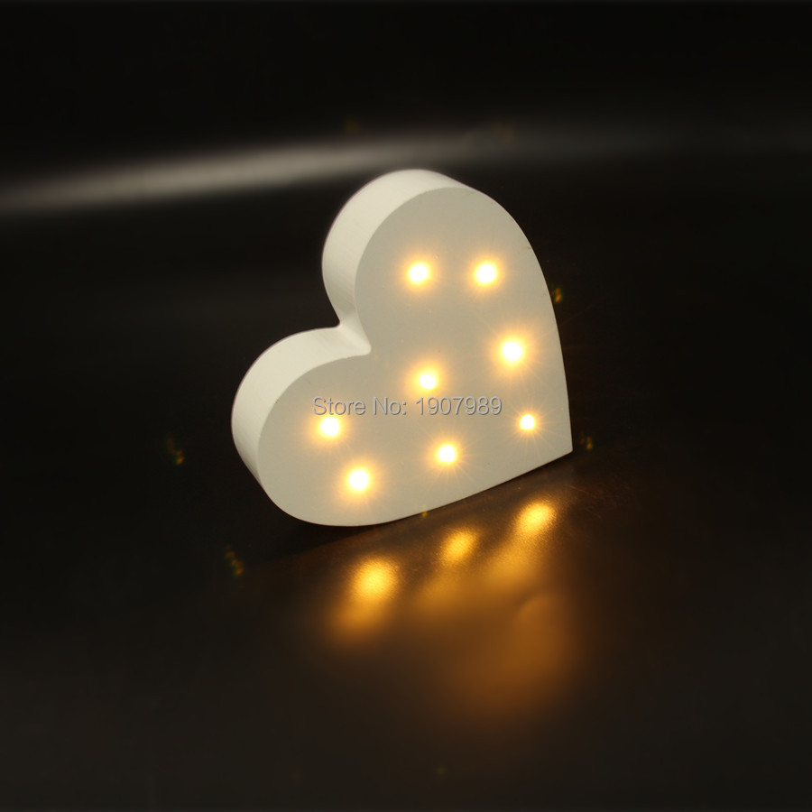 MINI white wooden heart shape light LED  Marquee Light Sign LED light valentine's gift  Indoor Dorm FREE SHIPPING