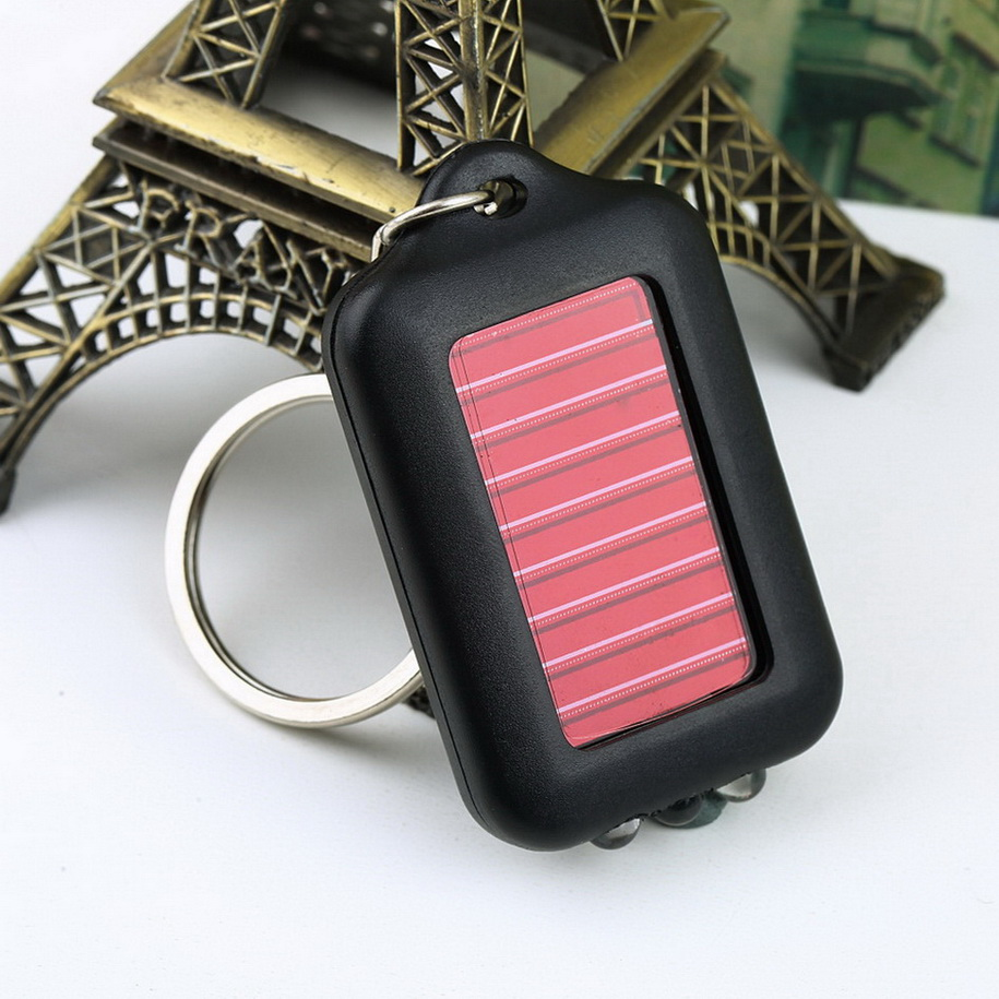 2016 New Top Sale Mini Solar Energy Keychain 3 LED Flash light Lamp Torch Survial Gadget