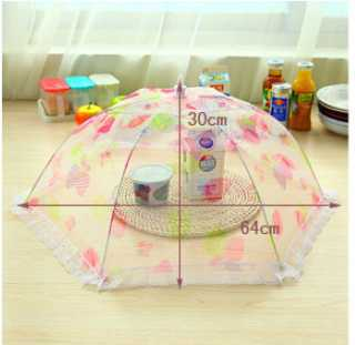 2015 hot folding food cover dining table leaf mustard dining table lid foldable food umbrella lace cover color random(China (Mainland))