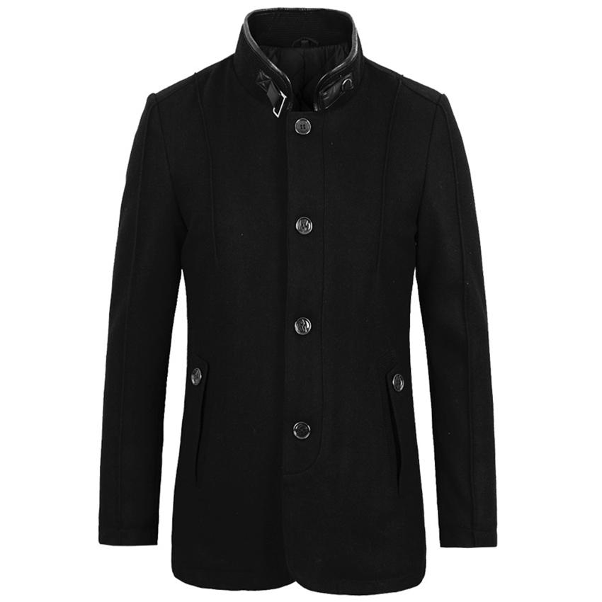 E-artist Winter Men Wool Coat Slim Fit Casual Thickened Woolen Trench Long Coat Jacket Overcoats Pea Coat Black Plus Size 3XL N6