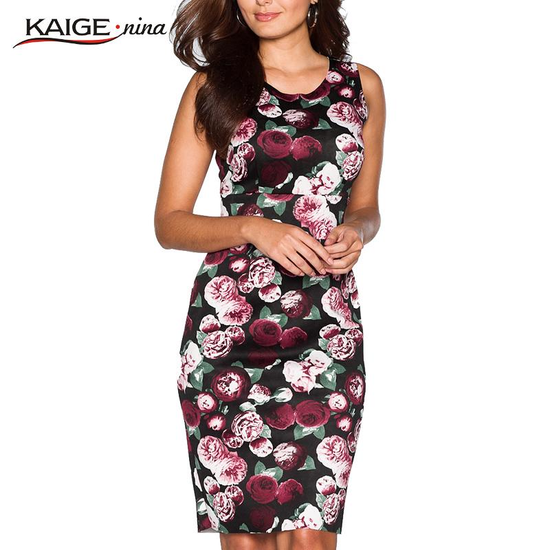 KaigeNina New Fashion Hot Sale Women Flower Printing Sleeveless Clothes O-Neck Knee-length Chiffon Dress 1182Одежда и ак�е��уары<br><br><br>Aliexpress