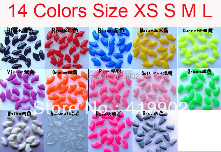 New 20pcs Soft Cat Pet Nail Caps Claw Control Paws off + Adhesive Glue Size XS S M L 14 Colors Available Free Shipping(China (Mainland))