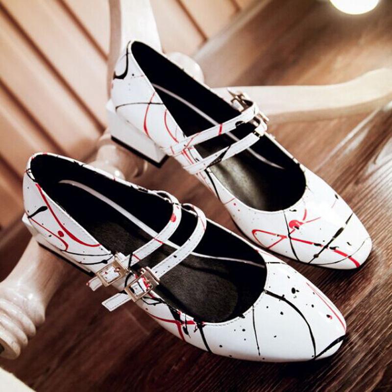 Black White Hot Sale Womens Mary Janes Pumps Casual Velcro Shoes Creeper Dress Shoes BIG SIZE 34-43 platform pumps<br><br>Aliexpress