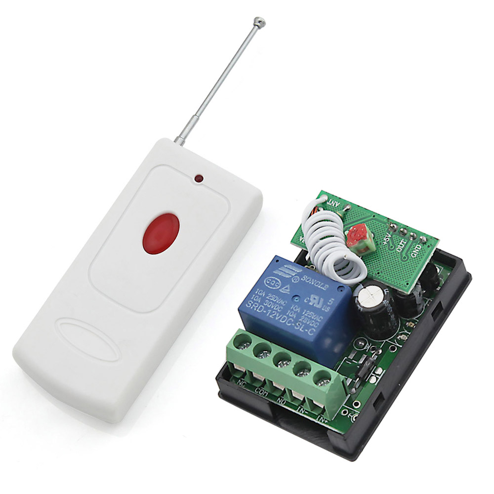 RF DC 12V Wireless Learning Remote Control Light Switch 433Mhz White Color Type Transmitter 1 Channel Relay(China (Mainland))