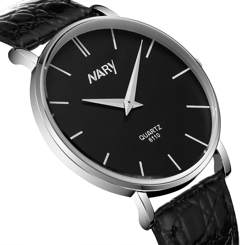 NARY Brand Men Casual Wristwatch Analog Display Business Men Ultrathin Dial Leather Strap Watch For Men&amp;Women Ultra-light weight<br><br>Aliexpress