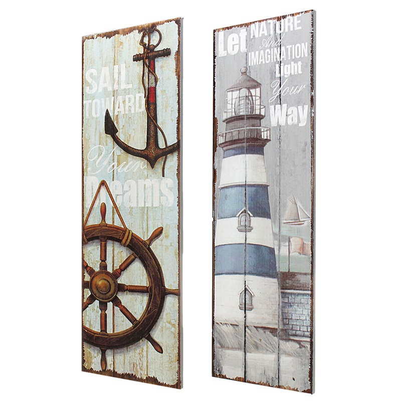 New Vintage Mediterranean Style Nautical Wooden Sign Plaque Art Picture Lighthouse Design for Home Wall Decoration Wood Crafts
