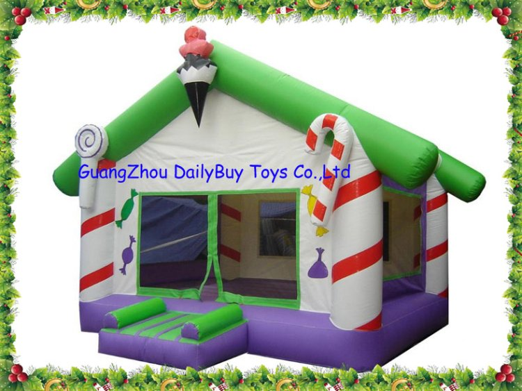 DBB05 2012 New commercial Christmas Candy inflatable bounce House 0.55mm PVC + Repait Kits + CE/UL Blower Holiday activites(China (Mainland))