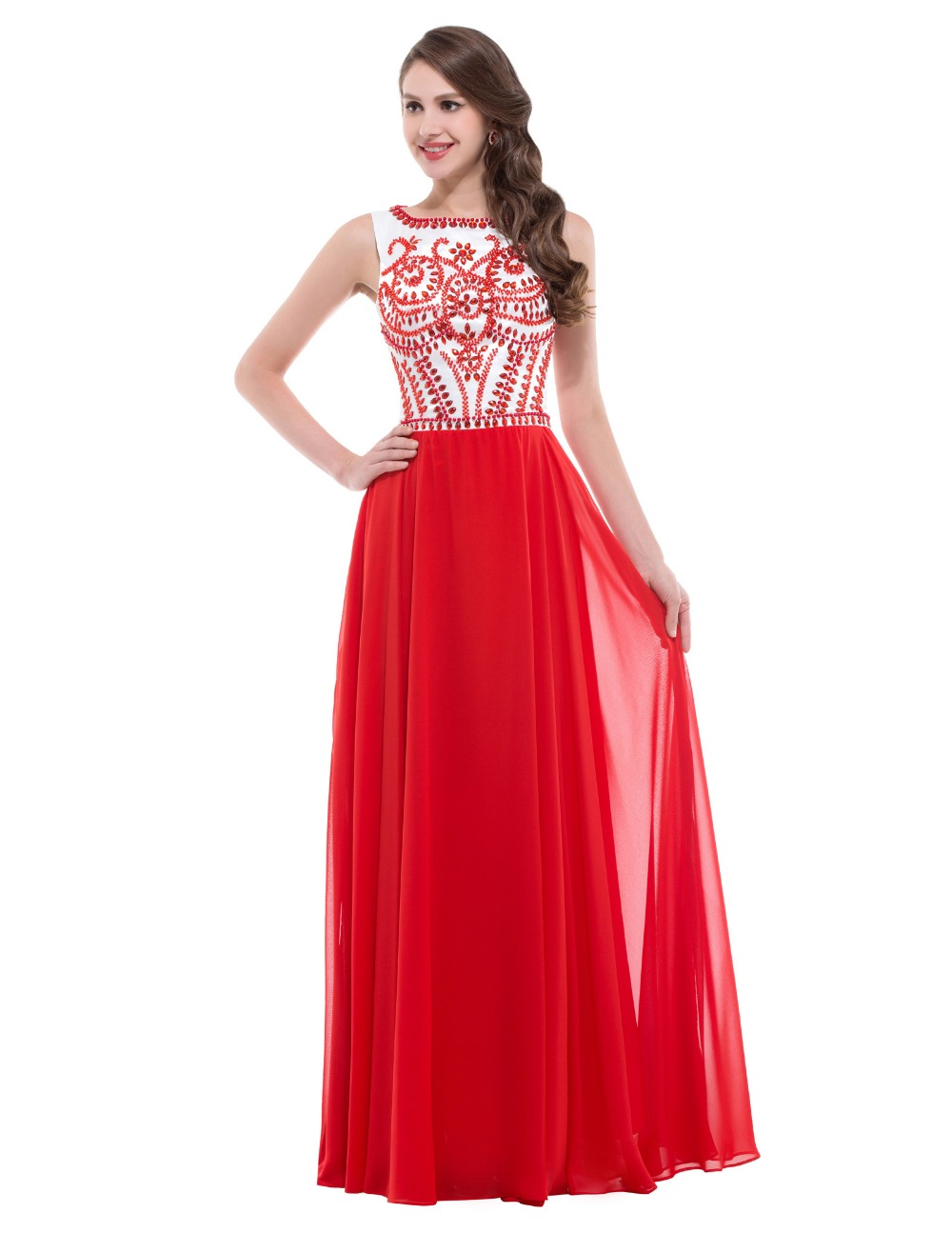 Dress beaded a line evening dresses long formal party clothing women