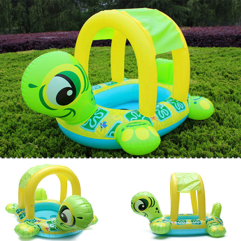 Cute Tortoise Shape Swim Ring Kids Baby Toddler Swimming Pool Float Inflatable Seat Boat With Sunshade Summer Water Fun Pool Toy(China (Mainland))