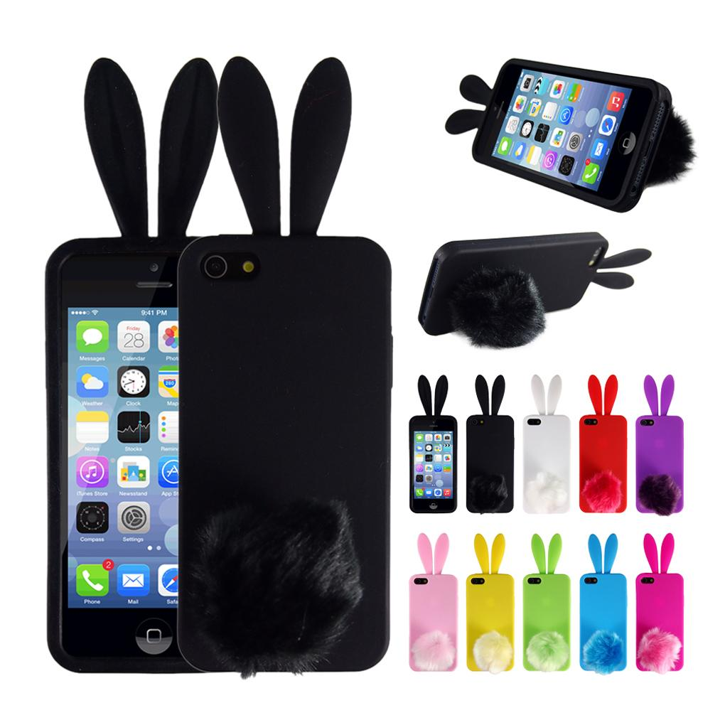 2016 new Silicone Rubber Bunny Rabbit Back 3D Phone Skin Case Cover for iPhone 4 4s 5 5s