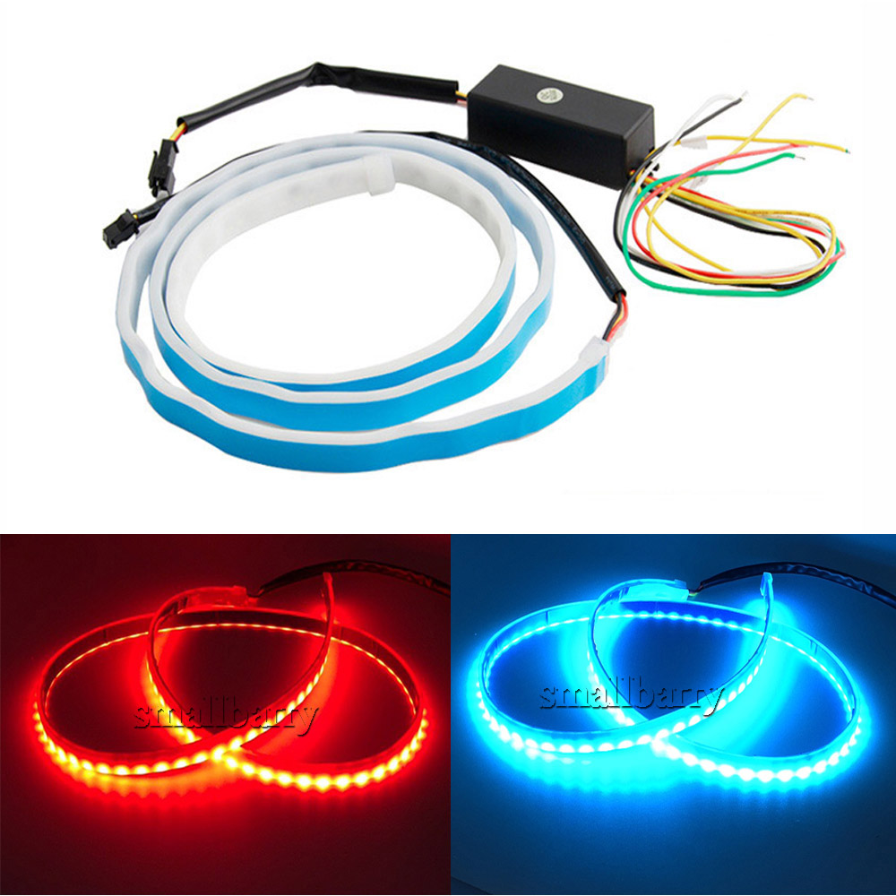 new coming dual color flow type drl on Trunk box with Side Rear lights LEDs Strips Car Braking light Turn Signal Light(China (Mainland))