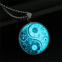 Antique Tai Chi Necklace Glass Cabochon Statement Silver Long Bead Chain Pendant Necklace Glow In Dark