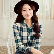 4XL Plus Size Classic Plaid Vintage Women Long Sleeve Blouse New Striped Korean Style Fashion Slim Casual Women Cotton Blouse