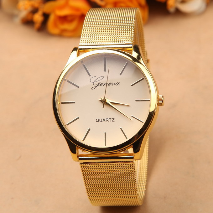 Gold watch Full stainless steel woman fashion dress watches men brand name Geneva quartz watch best quality G-8072,free ship(China (Mainland))
