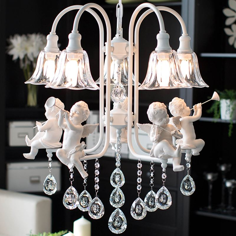 Modern crystal Chandeliers with the angel for living room light modern lamps lustre lighting led(China (Mainland))