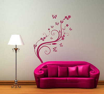 Large Flower Wall Stickers Home Decor Living Room Vintage Floral Wallpaper Vinyl Vine Wall Art Decals For Girls Room Sofa Wall(China (Mainland))