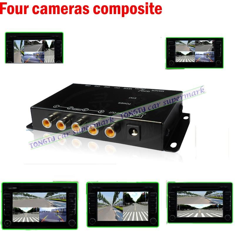 car 4-Way Composite RCA Video Splitter Distribution support car rear front side view cameras four cameras control box switch(China (Mainland))