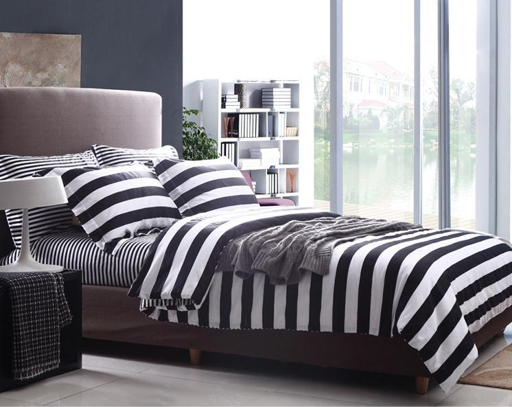 Buy modern stripe white and black style - Black and white modern bedding ...