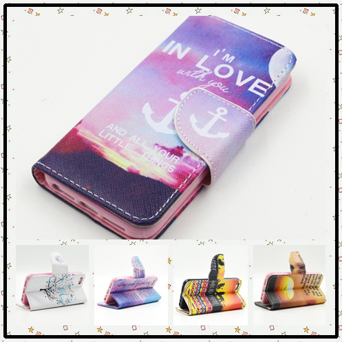 New arrival color painting style I'm in love purple pink pattern leather cover case for Samsung Galaxy G850F card slot and stand(China (Mainland))