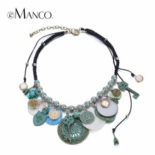 eManco Ethnic Vintage Geometric Statement Charms Necklace & Pendant Women Shell Turquoise Weaving Rope Ancient Bronze Jewelry(China (Mainland))