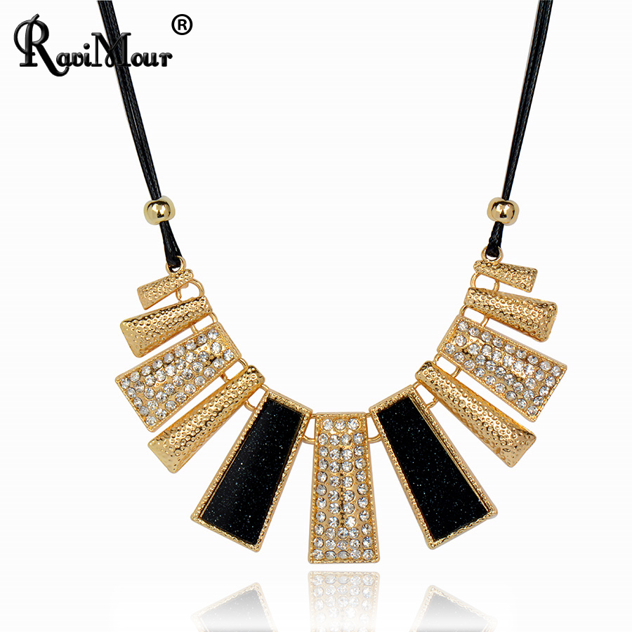 RAVIMOUR Collier Femme Fashion Necklaces & Pendants PU Leather Rope Resin Statement Choker for Women Mujer Accessories Jewelry(China (Mainland))