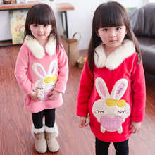 kids girls sweatshirts hoodies,added cashmere cute sweater,long sleeves sweatshirts,girls cartoon rabbit pattern wool base shirt(China (Mainland))