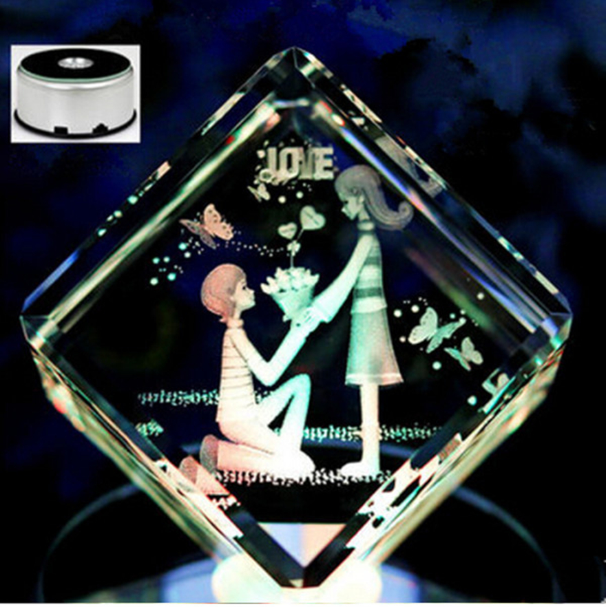 Hot sale inner carving living kneeling suitor crystal cube customized crafts 7 color music lamp base wedding girlfriend gifts(China (Mainland))