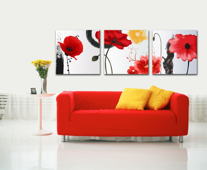 3 Panels Wall Art Pictures About red flowers Painting On Canvas Modern Drawing living room decoration wall sticker GFC-FL-158(China (Mainland))