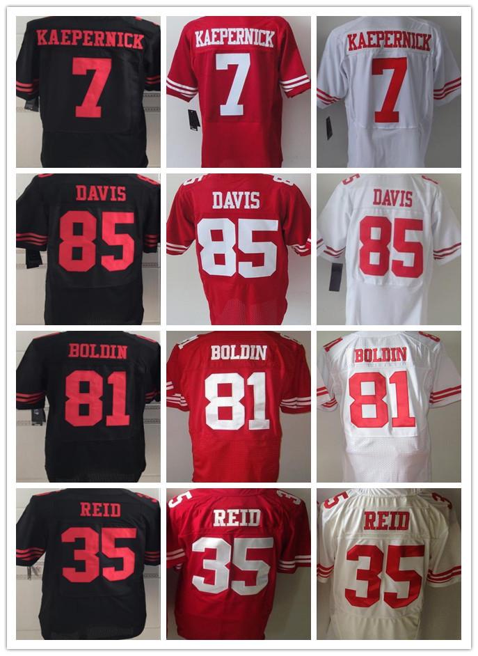 Cheap Men's San Francisco Elite Football Jersey #7 Colin Kaepernick #85 Vernon Davis #35 Eric Reid #81 Anquan Boldin jerseys(China (Mainland))