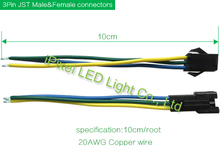 10x 3Pin 10mm wide cable Dual End RGB LED Strip Connector for WS2811 WS2812B(China (Mainland))
