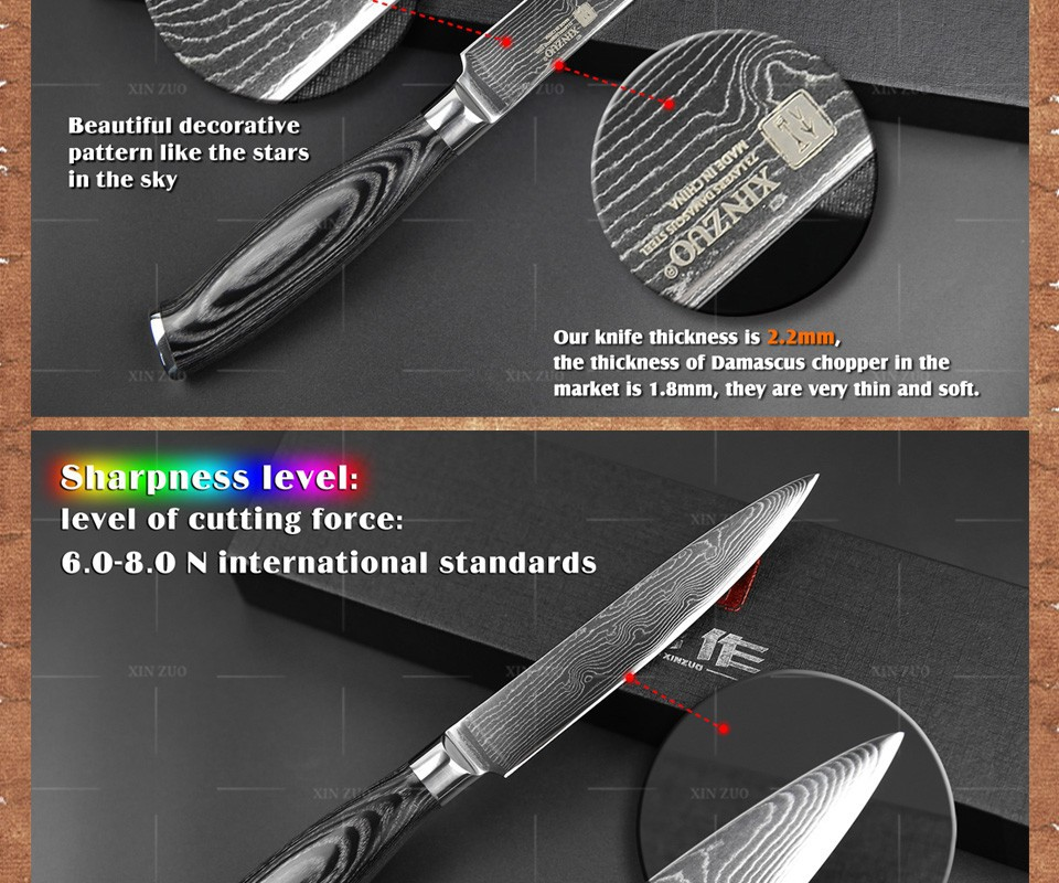 "Buy xinzuo 5""inch utility knife Damascus kitchen knife sharp Multi-purpose cutter knife 73layer with Color wood handle free shipping cheap"