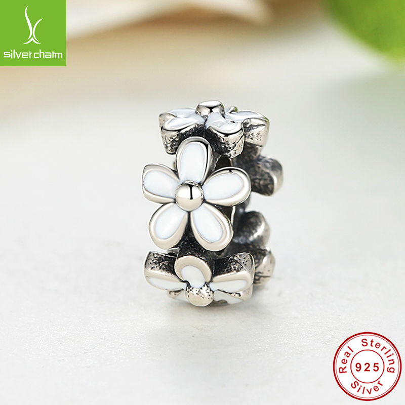 European 925 Sterling Silver Darling Daisies Spacer Charm Fit Original Pandora Bracelet Neckalce Authentic Jewelry Gift(China (Mainland))
