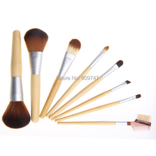 8PCS set Pro Cosmetic Brush set 8 pcs Bamboo Handle Makeup Brushes Kit toiletries facial make
