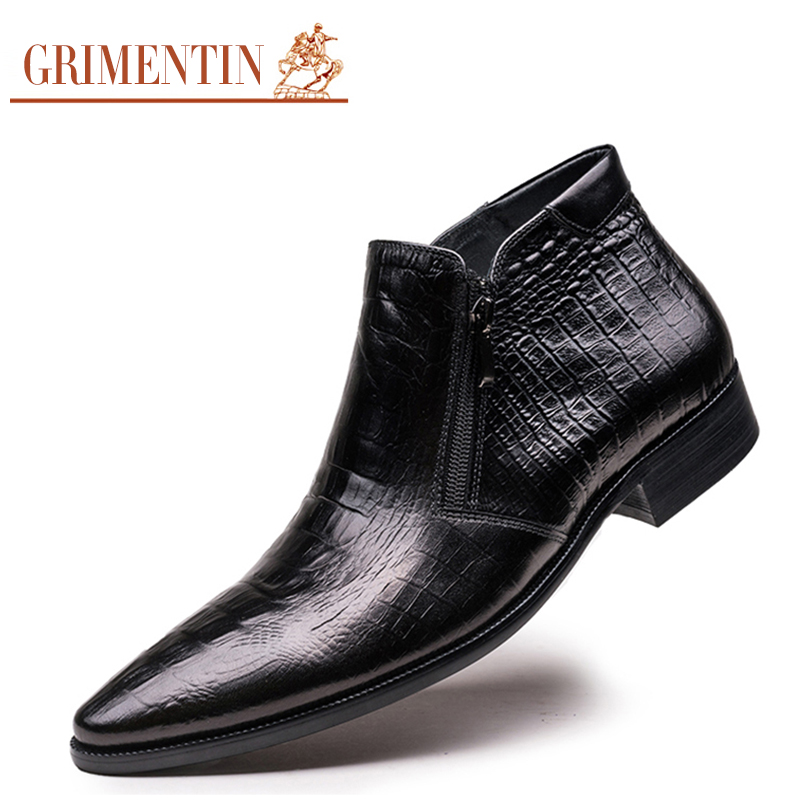 GRIMENTIN fashion crocodile mens ankle boots genuine leather comfortable pointed toe luxury brand men dress shoes for wedding O4(China (Mainland))