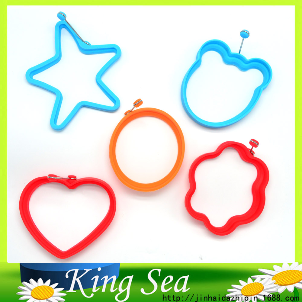 5 Pcs/Lot Silicone Egg Rings Fried Egg Mold Non-stick Kitchen Egg Cooking Tools Stars Heart Round Flower Animal Shape Egg Mold(China (Mainland))
