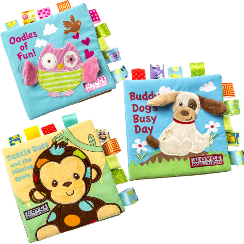 3 Style Activity Book Cartoon Animal Soft Baby Educational Toy Cloth Book Plush Animal Baby Plush Toys With Rattles BB Device(China (Mainland))