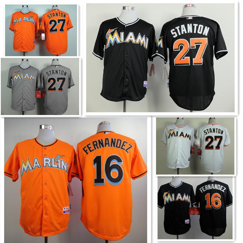 Men Baseball Jersey Miami Marlins Cheap Giancarlo Stanton Jersey,Miami Marlins 27# Stitched Jerseys Size:S-XXXL Free shipping