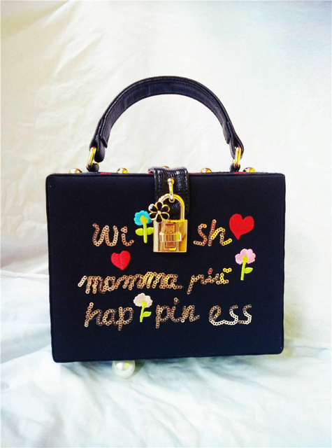 New Fashion Design MAMA series embroidery cartoon flowers heart letter box shoulder bag handbag ladies evening bag messenger bag