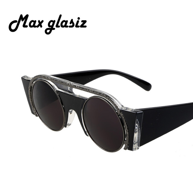 2016 ретро круглые очки стимпанк очки черный отражающей старинные мода летом прохладно ...