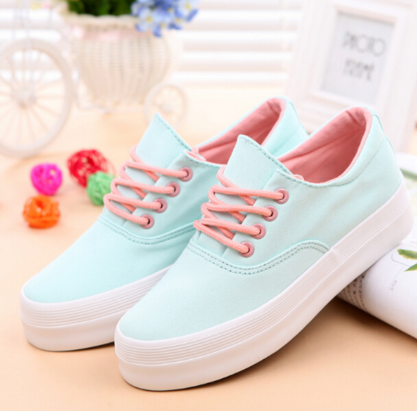 Women canvas shoes 2016 spring women platforms sneakers women sweet solid white canvas shoes(China (Mainland))