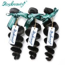 Rosabeauty Indian Virgin Hair 3 Bundles Indian Loose Wave Virgin Hair Unprocessed Human Hair Weave Soft Hair Weave Bundles(China (Mainland))