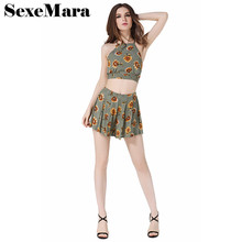Buy Floral print boho two piece set sexy backless crop top shorts casual summer pants set women beach outfits D33-I02 for $10.71 in AliExpress store