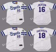 Cheap Kansas City Royals 16 BO JACKSON 18 BRET SABERHAGEN jersey 1989 Home throwback Baseball Jersey stitched S-4XL(China (Mainland))
