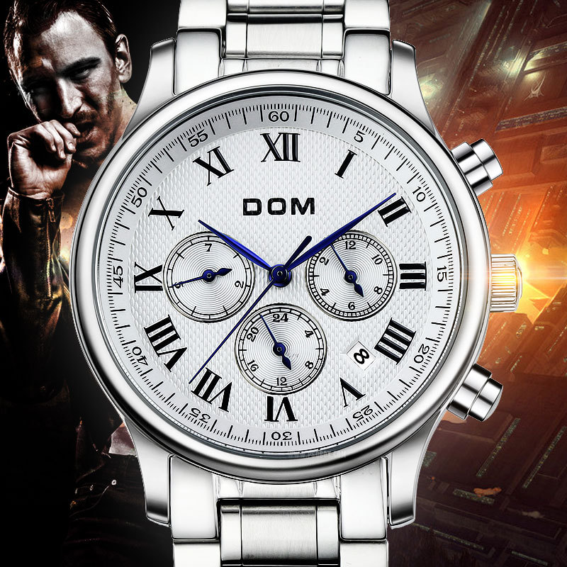 DOM men business fully automatic mechanical waterproof stainless steel watch leather belt steel belt day-date<br><br>Aliexpress