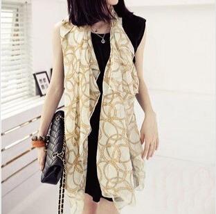 Классическая специализированная золотая цепь оптовая продажа шифоновый шарф, 165 * 70 см, Модный европейский стиль, Высококачественный, Для мягкий пляж